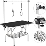 YAHEETECH Pet Grooming Table for Large Dogs Adjustable Height - Portable Trimming Table Drying Table w/Arm/Noose/Mesh…