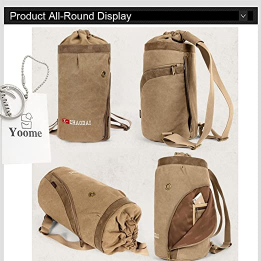 Amazon.com  Yoome Drum Canvas Backpack Drawstring Vintage Rucksack Laptop  Dayback Travel Hiking Camping Mountaineering Weekend Sports Bag for Men -  Khaki  ... 8d8e1c1b49094