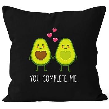 Kissen-Bezug Avocado You complete me Kissen-Hülle Deko-Kissen Baumwolle