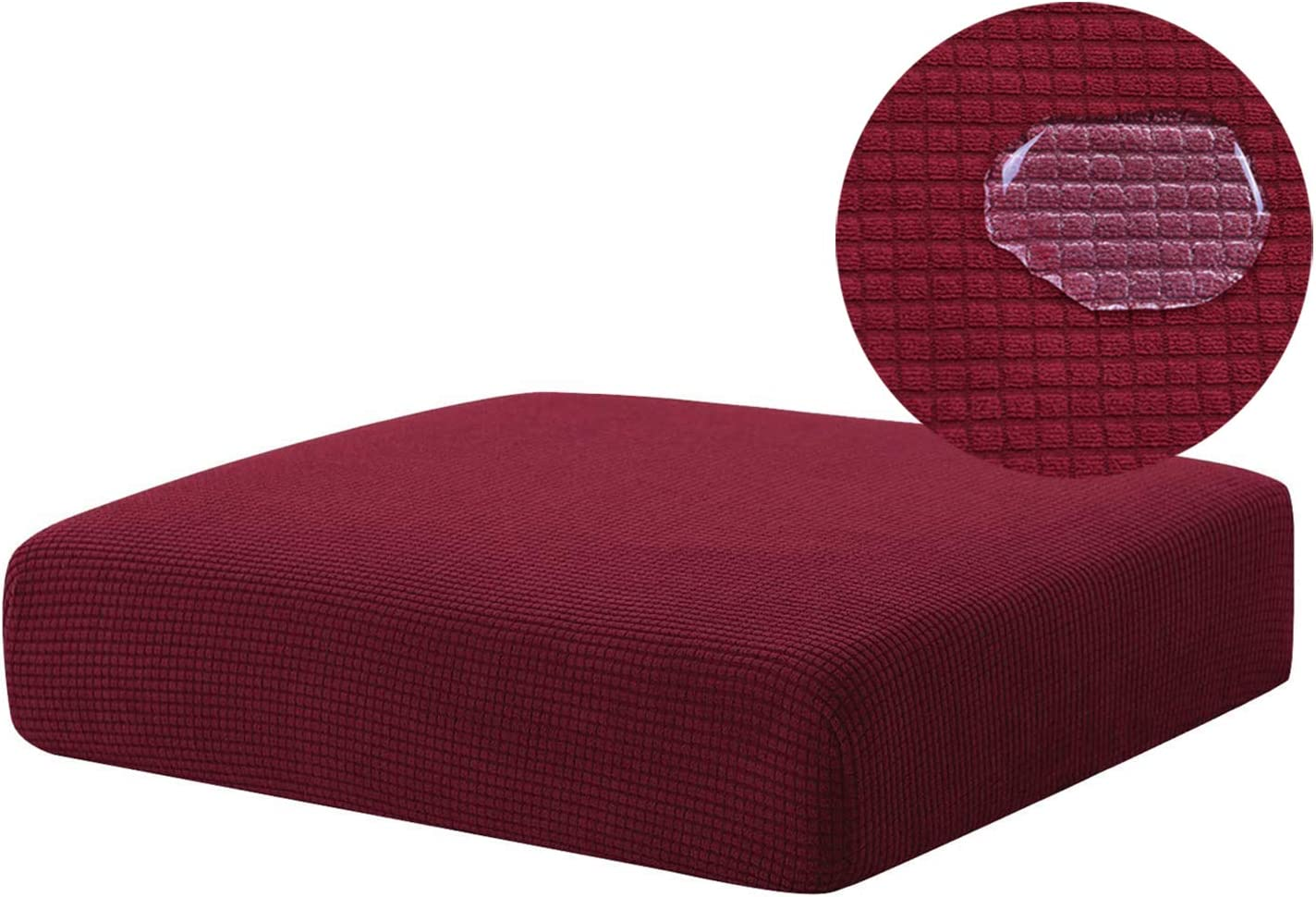 NC HOME Stretch Water Repellent Sofa Cushion Slipcover Sofa Seat Covers Furniture Protector, Non Slip Armchair Slipcover (Chair Cushion, Wine)