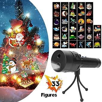 Anbuy - Proyector de luces de Navidad con 3 diapositivas y 33 ...