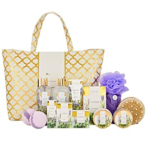 Spa Luxetique Lavender Spa Gift Baskets for Women, Luxurious 15pc Gift Baskets with Spa Tote Bag, Best Gift Sets for Women - Luxury Home Spa Gift Set with Soap, Shampoo Bar, Body Scrub, Dry Hair Cap.