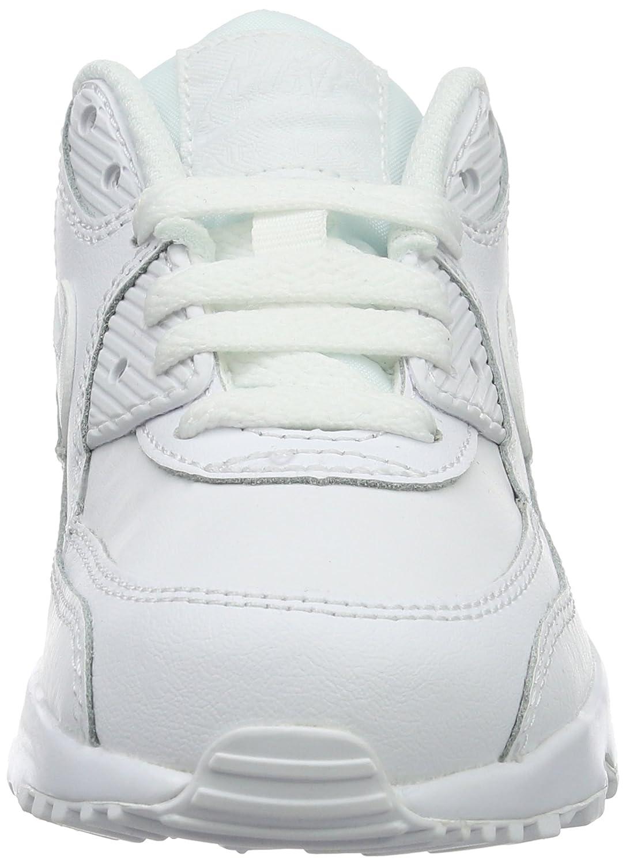 Nike Jungen Boys Air Max 90 Leather (Ps) Traillaufschuhe Weiß (White/White 100)
