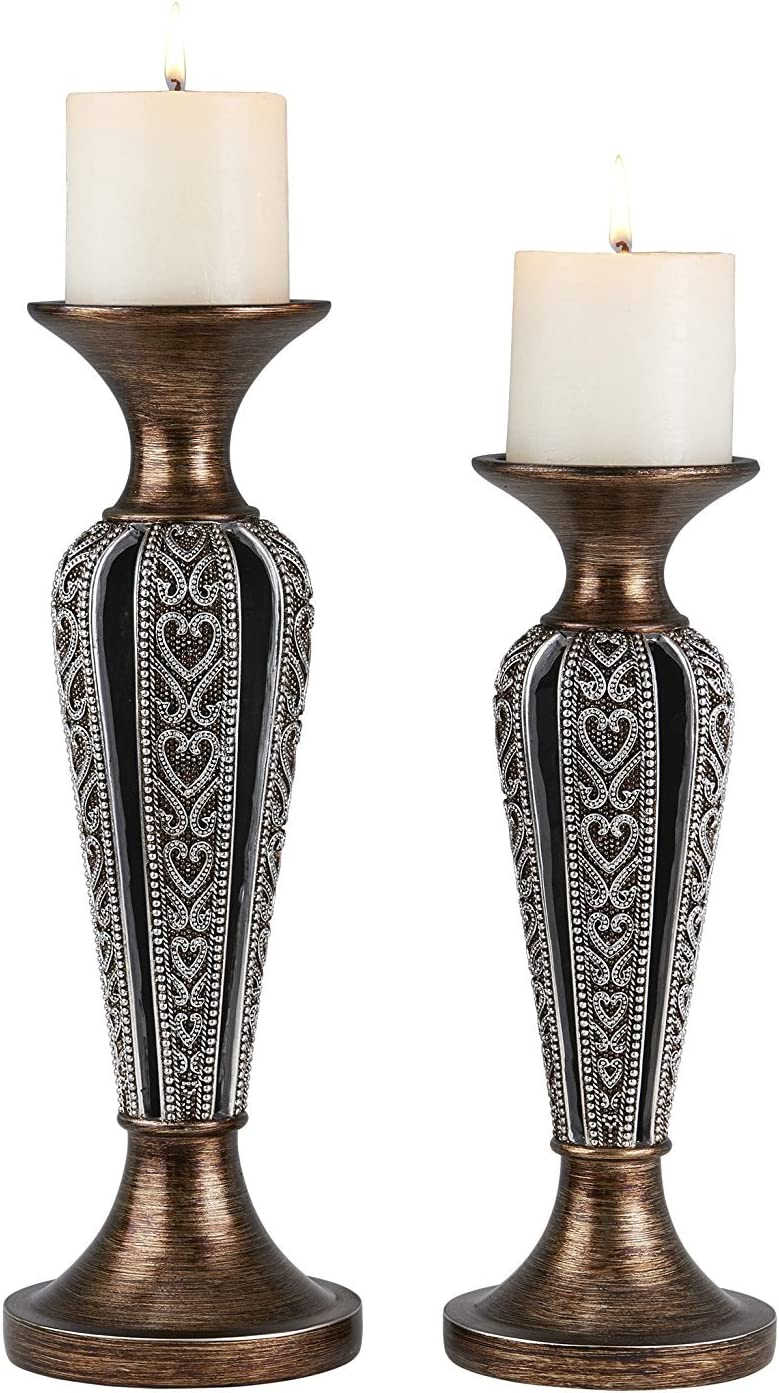 OK Lighting 12 and 14 H Everly Candleholder Set