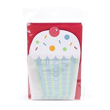 Amazon Com Hallmark Birthday Party Invitations Cupcake Pack Of 10