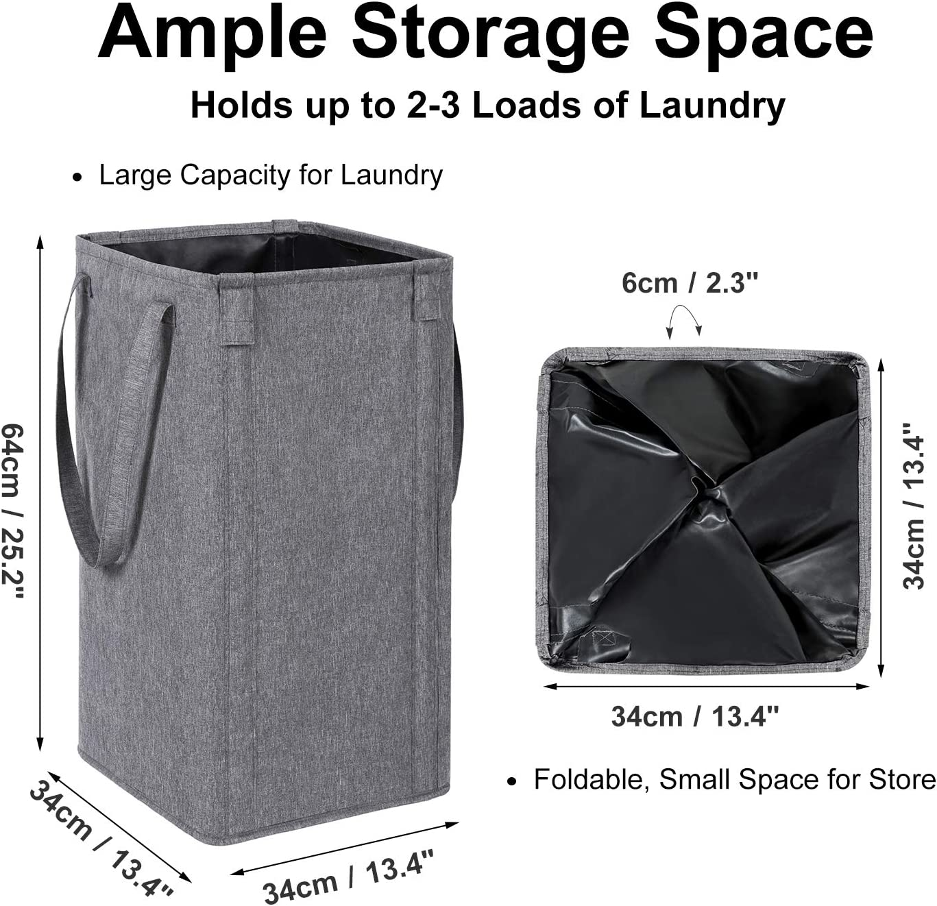 WOWLIVE Large Laundry Hamper Tall Laundry Basket with 2 Laundry Bags Foldable Clothes Hamper Rectangular Washing Bin Upgraded Gray