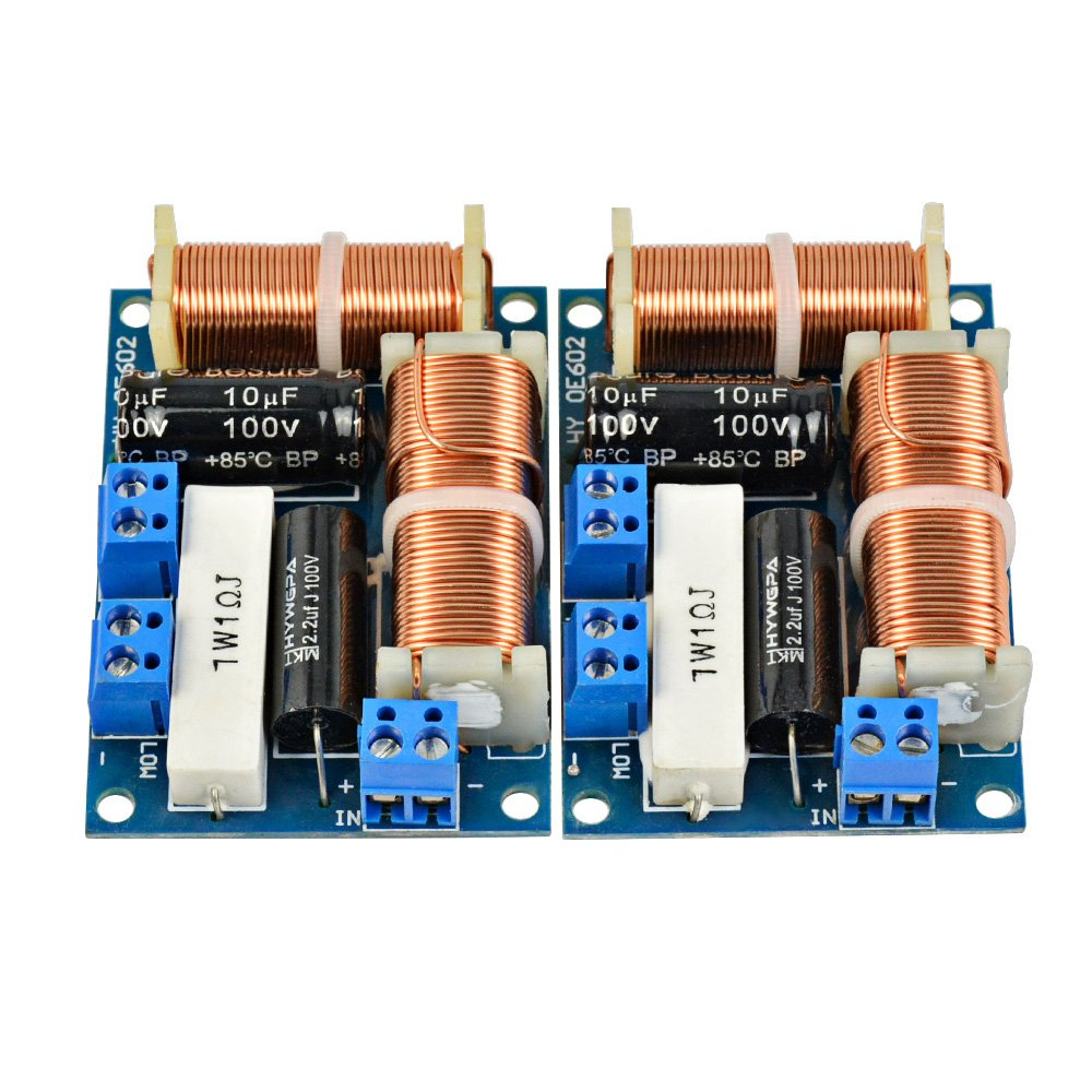2PCS Speaker 2 Way Audio Frequency Divider Treble Bass 2 Unit Crossover Filters 80W Bookshelf HIFI Speaker Divider