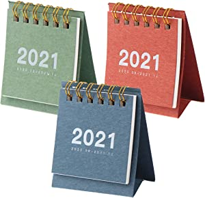 YASUOA 3 Pieces Desk Calendar 2021 Standing Flip Monthly Calendar with Hanging Loop Minimalism Full Year Calendar with Notes Section for Student Teacher Planning Office Supplies(Blue/Green/Red)