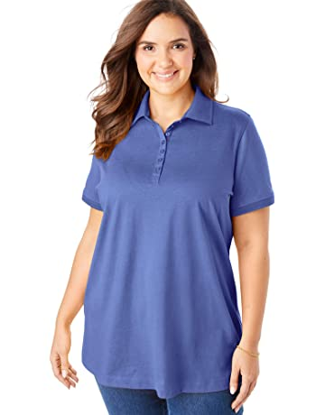 ebe2e357 Woman Within Women's Plus Size Perfect Polo Shirt