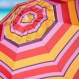 7' Beach Umbrella Portable Outdoor Umbrella Includes Aluminum Pole Sand Anchor Tilting 8 Fiberglass Ribs & Carry Bag Pink Stripe Design 1602