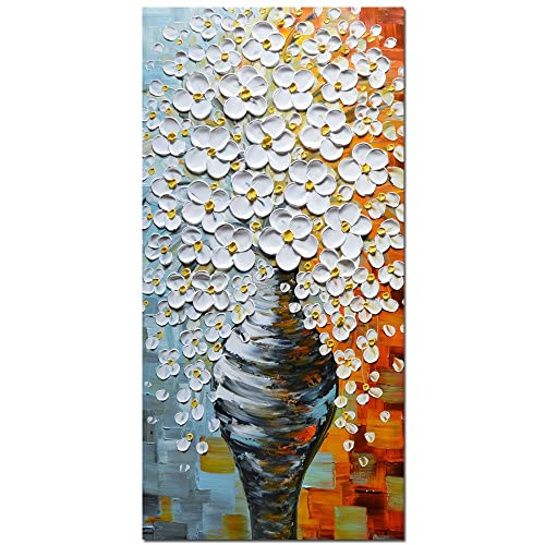 Asdam Art Oil Paintings – 3D Hand Painted Flower Canvas Paintings White Vase Art Vertical Wall Art Abstract Modern Wall Artwork Decor for Living Room Bedroom Bathroom Home Framed 24×48 inch