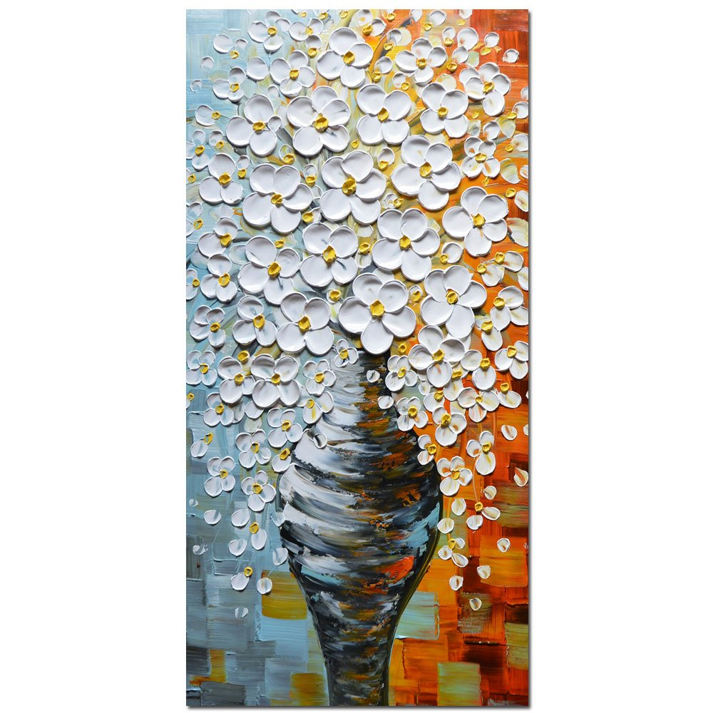 Asdam Art - 3D Oil Paintings On Canvas Elegant White Vase Abstract Artwork Wall Art for Living Room, Bed Room, Dinning Room Framed Stretched Ready to Hang (20x40 inch)