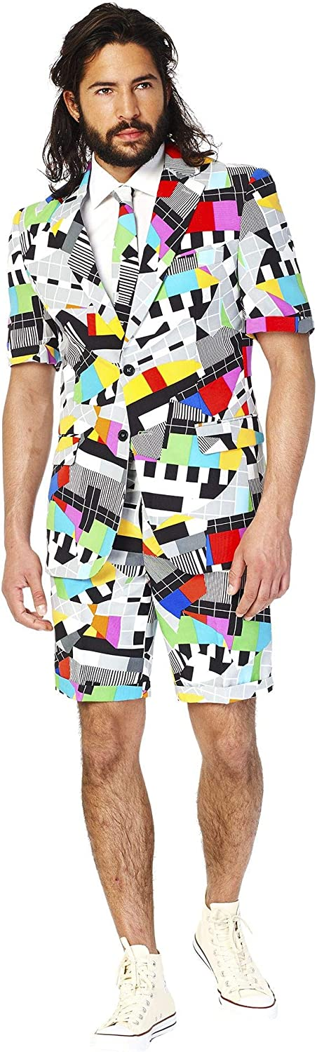 Opposuits Men's Summer Suits in Different Prints - Includes Shorts, Short-Sleeved Jacket & Tie + Free Sunglasses & Cup Holder