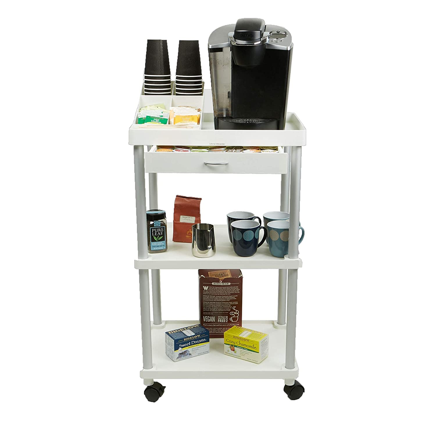 Office coffee cart Coffee Stand Amazoncom Mind Reader All Purpose Rolling Cart Printer Cart Utility Cart Kitchen Cart Coffee Cart Microwave Cart Bathroom Cart Tier Amazoncom Amazoncom Mind Reader All Purpose Rolling Cart Printer Cart