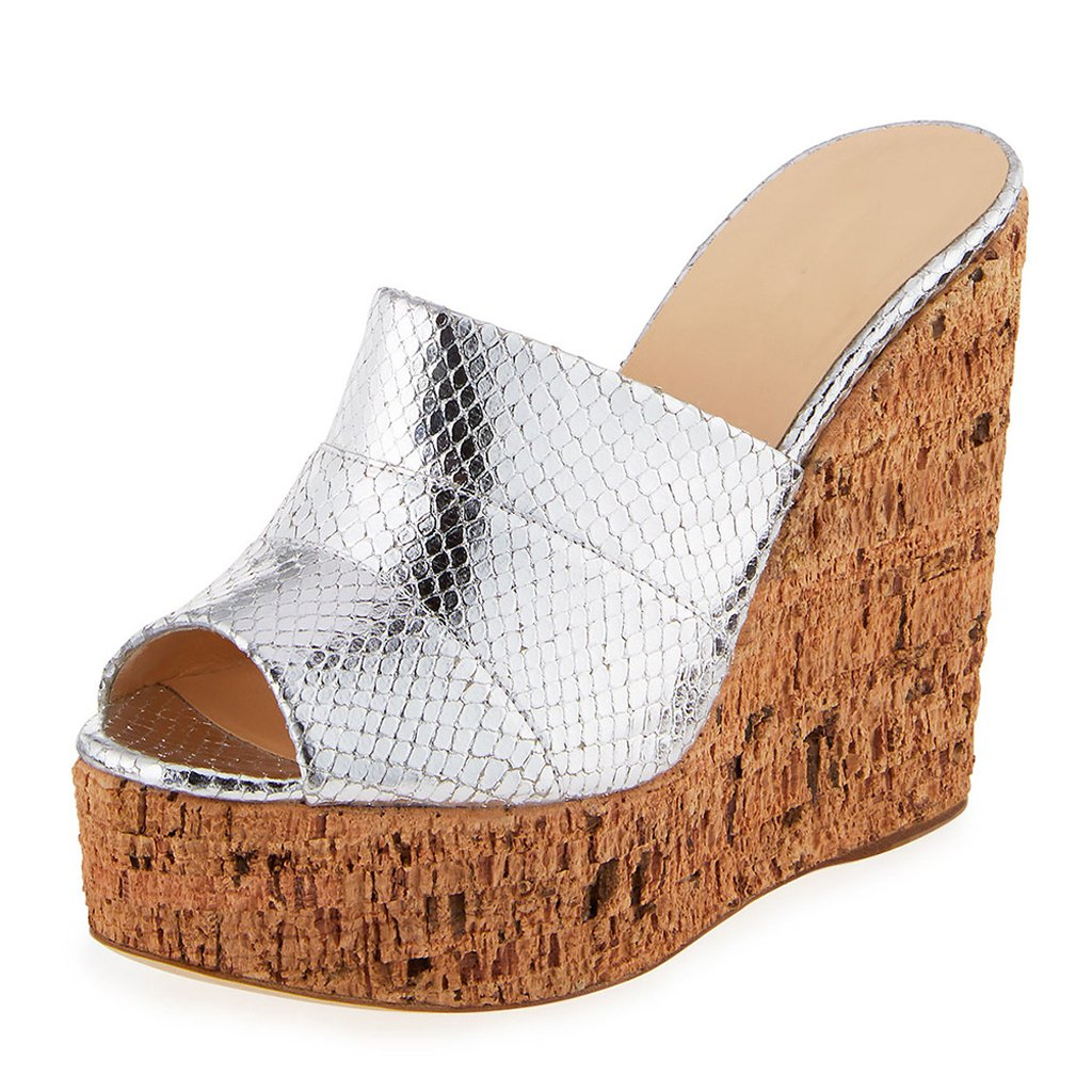 Silver Women's Wood Grain Wedge Sandals Super High shoes Fashion Chunky Block Heel Sandals(Heel Height  15-17cm)