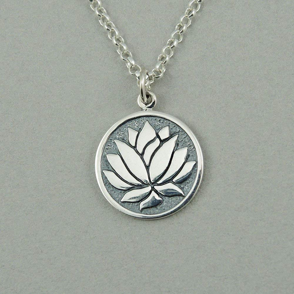 Charm Necklace Yoga Jewelry Lotus Flower Yoga Necklace Lotus Sterling Silver Necklace