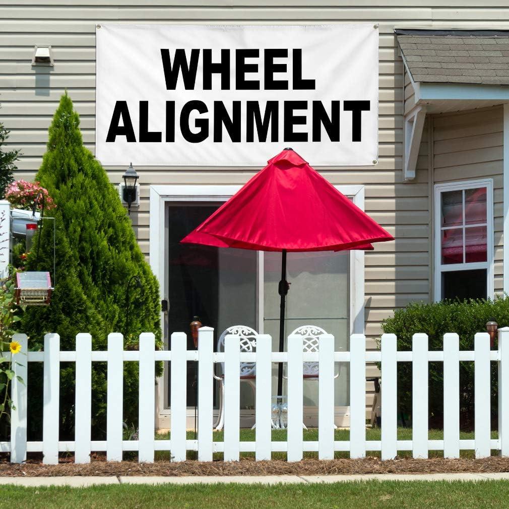 Vinyl Banner Multiple Sizes Wheel Alignment Black Auto Car Repair Shop Automotive Outdoor Weatherproof Industrial Yard Signs 8 Grommets 48x96Inches