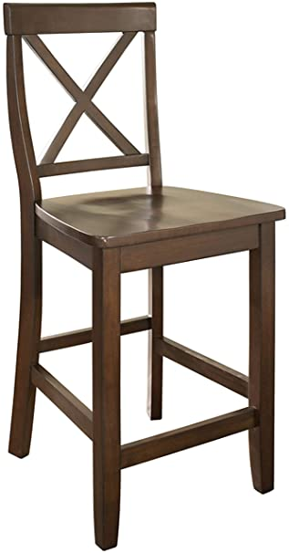 Awesome Crosley Furniture X Back Bar Stool Set Of 2 24 Inch Vintage Mahogany Onthecornerstone Fun Painted Chair Ideas Images Onthecornerstoneorg