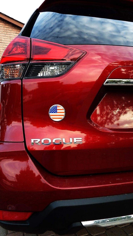 USA American Flag 2.75 Car Chrome Round Emblem Decal 3D Badge