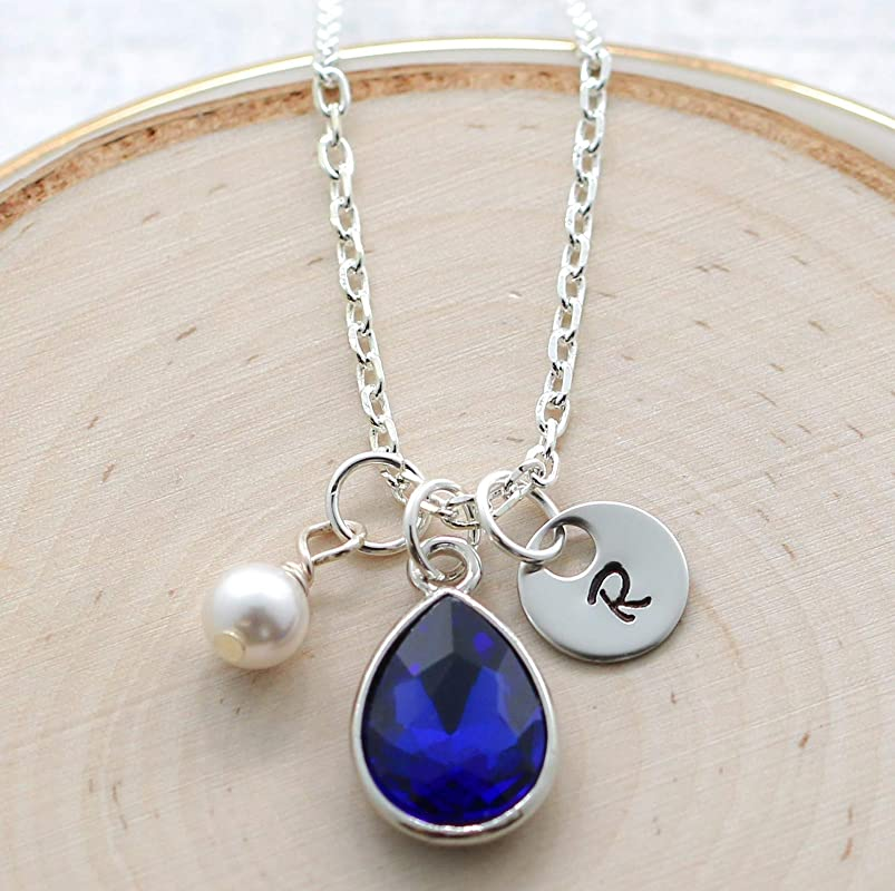 September Birthstone Necklace BD Sapphire September Birthday Gift Necklace for Her Birthstone Personalize initial Necklace Sterling Silver