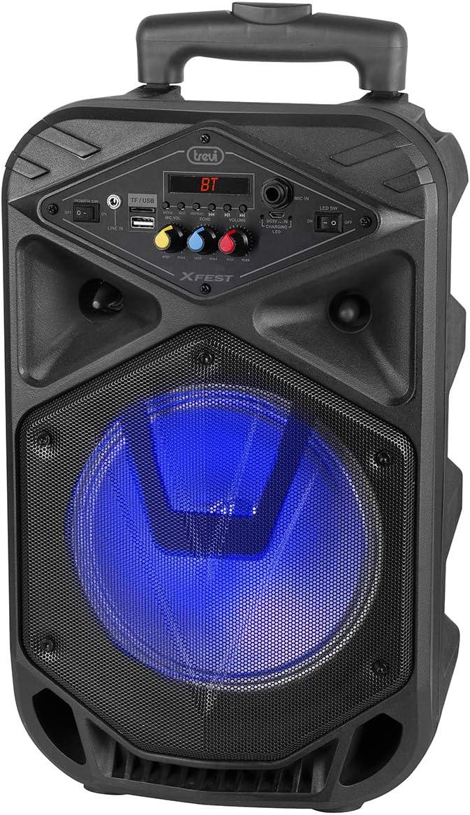 Trevi XFEST XF 350 Altavoz Amplificado portátil con MP3, USB, MicroSD, AUX-IN, Bluetooth, batería integrada, Karaoke Party Speaker con micrófono dinámico con Cable Incluido