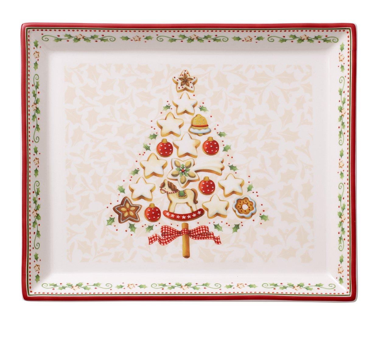 Villeroy & Boch Winter Bakery Delight Piatto Pasticceria, Rettangolare, Porcellana, Bianco/Rosso, 27x22.5x0.1 cm 14-8612-2856