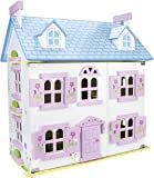 Beautiful Alpine Dollhouse made of wood with furniture and family dolls
