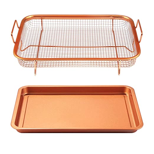 Teqhome Juego de bandeja de cobre antiadherente para horno ...