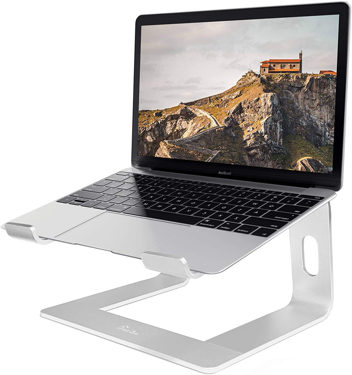 """Simple Zone Laptop Stand, Ergonomic Aluminum Computer Stand, Detachable Riser Holder Notebook Stand Compatible with MacBook Air Pro, Dell XPS, Lenovo More 10-15.6"""" Laptops – Silver"""