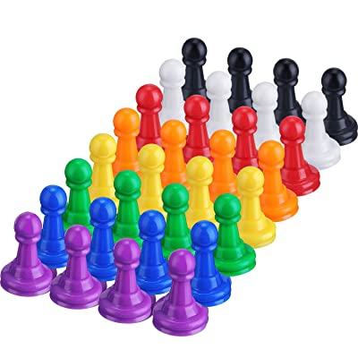 Shappy 32 Pieces Multicolor Plastic Pawn Chess Pieces for Board Games Pawns Tabletop Markers 1 Inch: Toys & Games