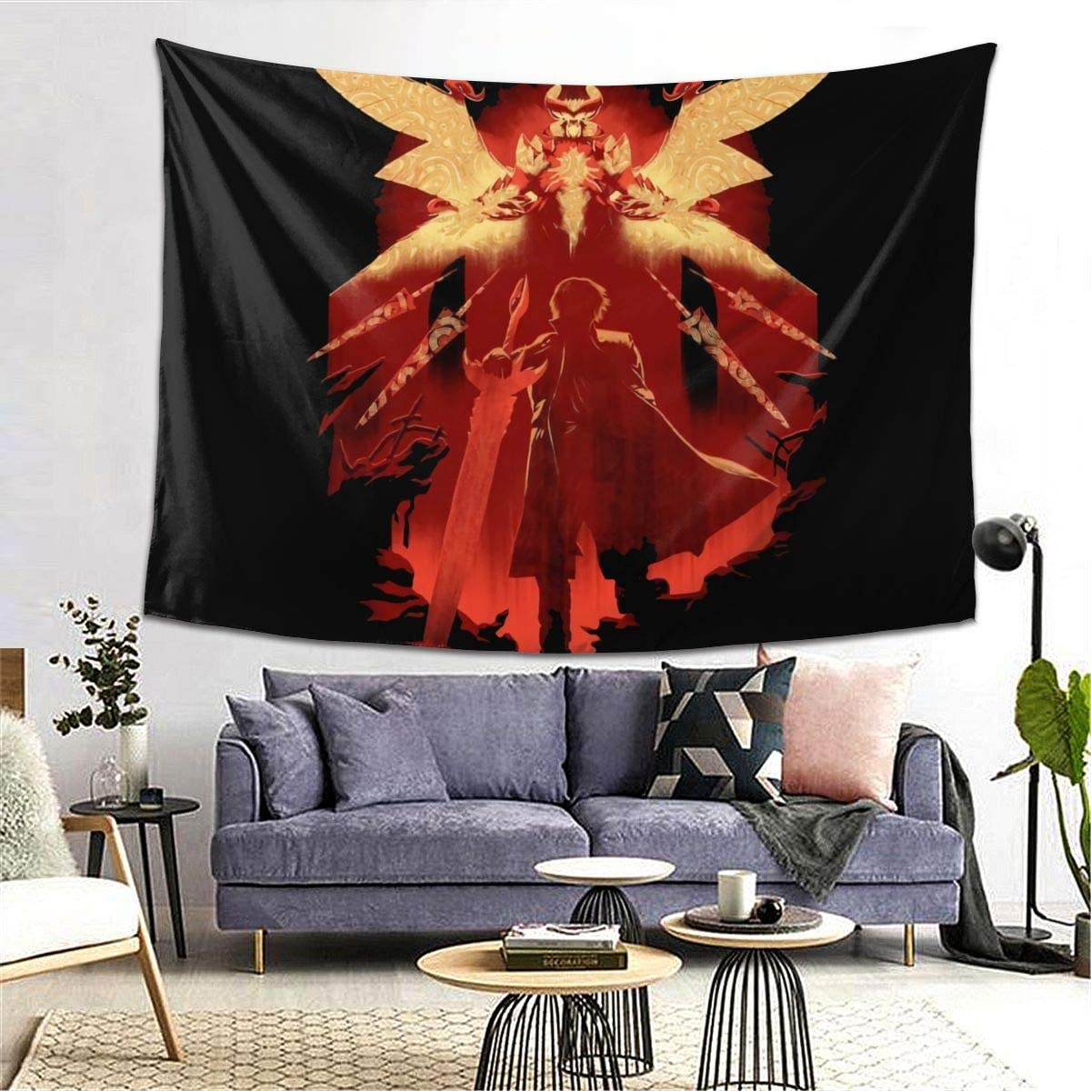 LIAM HENDERSON Devil May Cry 5 DanteWall Hanging Art Tapestry Home Deco Wall Art Decoration for Bedroom Living Room Dorm Picnic Cloth, Porch Hangings, Tablecloths,Bedspreads 8060inch