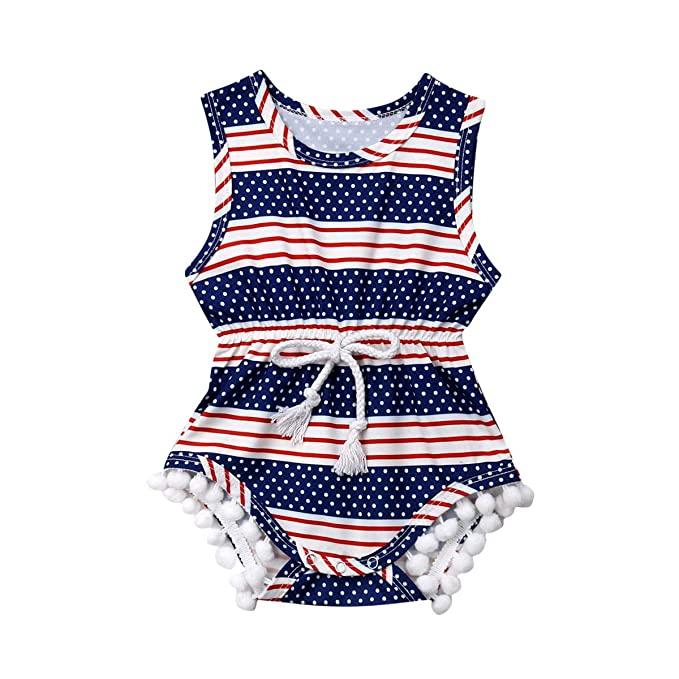0a87f81e0738 Toddler Baby Boy Girl 4th of July Outfit American Flag Tassle Romper  Bodysuit Jumpsuit Summer Onesie
