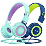 Kids Headphones with Microphone 2 Pack, Mpow CH8 Wired On Ear Headphones for Kids with 91dB Volume Limit, Online Schooling He
