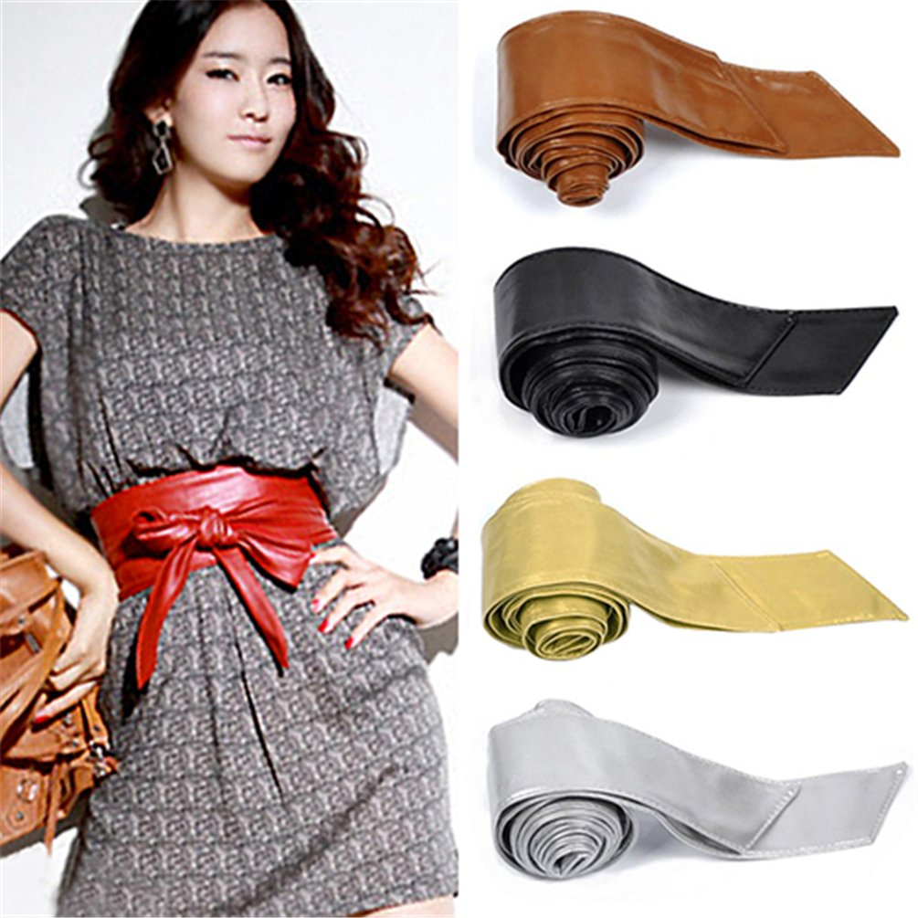 Floralby Womens Faux Leather Waist Belt Bowknot Wrap Cinch Belt Tie Corset Dress Waistband
