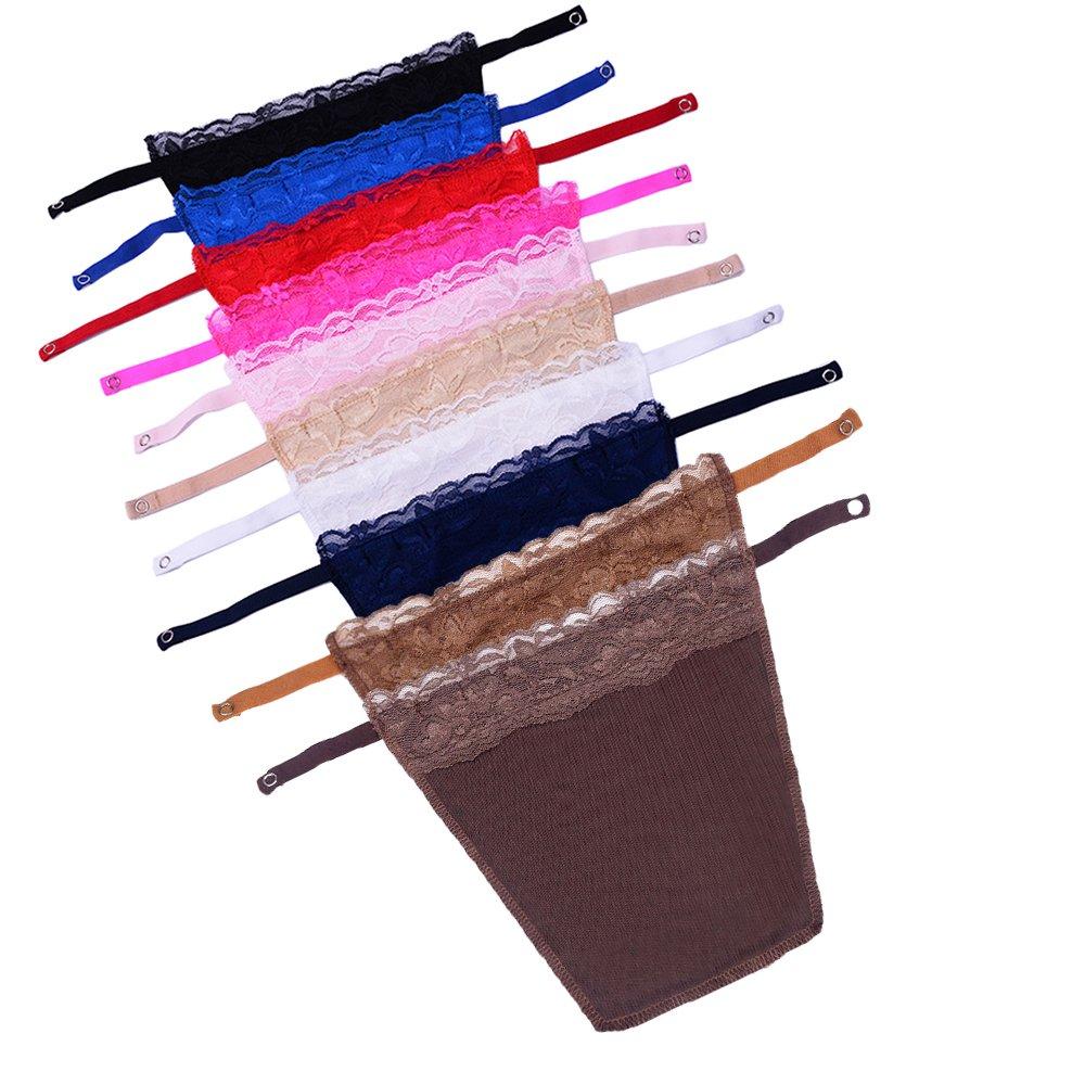 Metyou 10pcs Lady Lace Clip-on Mock Camisole Bra Insert Overlay Modesty Panel vest