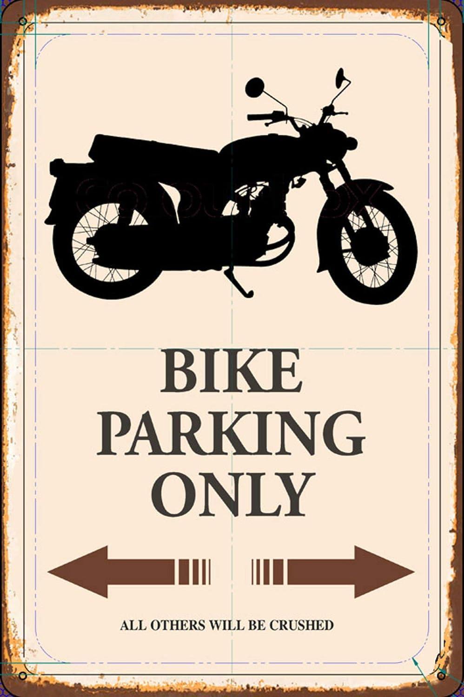 BlechschilderWelt Plaque m/étallique d/écorative pour Moto Parking Only Parking