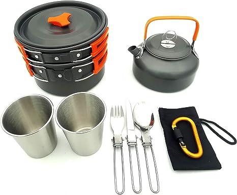 Utensilios de cocina de camping Kit de lío, 8 PC portátil de ...