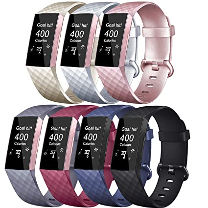 Tobfit Replacement Bands Compatible with Charge 3 Bands, Classic Sport  Rubber Wristbands for Women Men