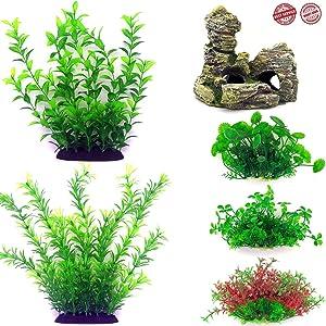 Fish Tank Plants, Most Professional Small Aquarium Plants Artificial Fish Tank Decorations,Aquarium Simulation Plastic Hydroponic Plants,6-Pack