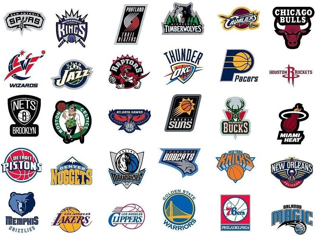 "NBA National Basketball Association Team Logo Stickers Set of 30 Teams 4"" X 3"" Size"