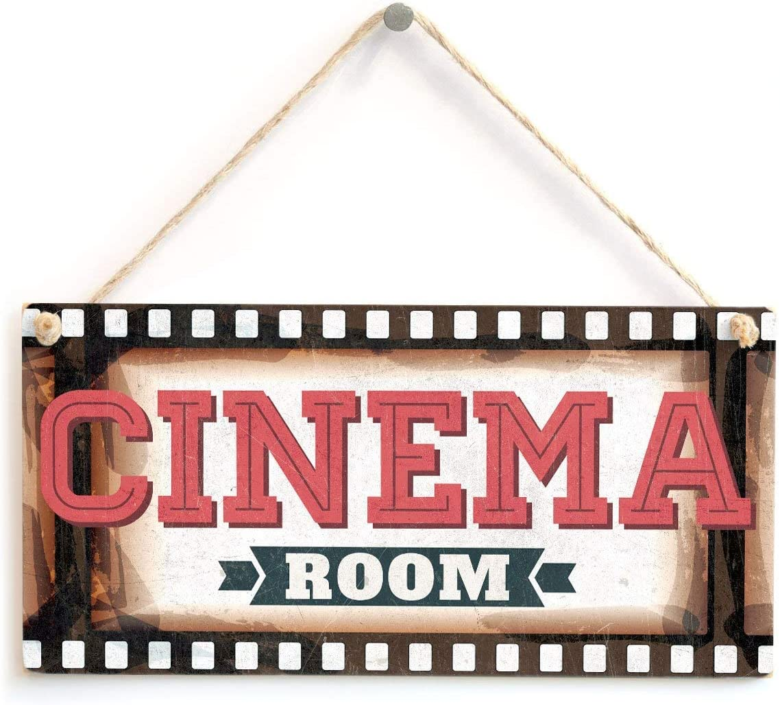 Tarfy Cinema Room Placa de Madera Colgante de Pared Arte Decorativo para el hogar casa Bar café té Barbacoa Tienda