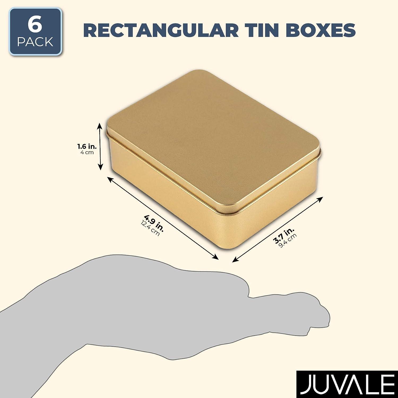 19 x 11 x 4 cm vac/ía rectangular roja rectangular Caja de metal con tapa y ventana