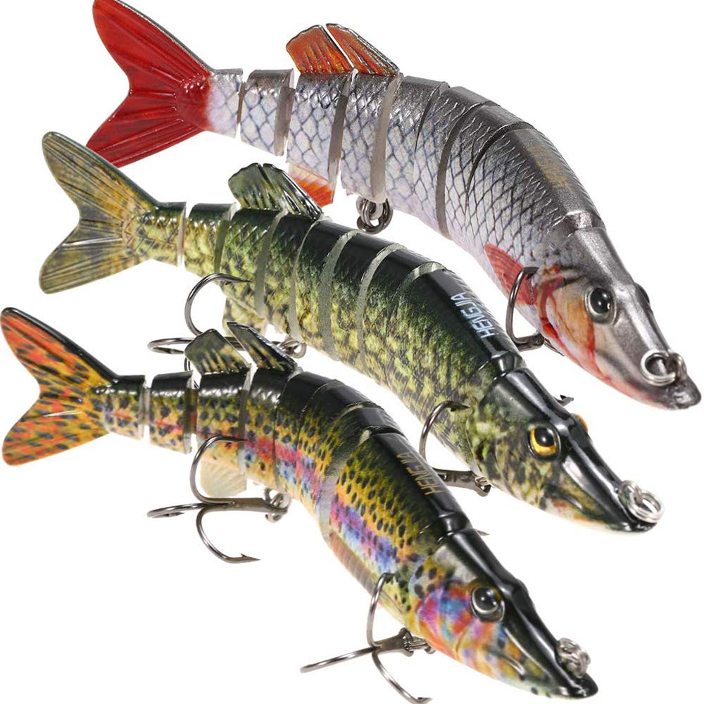Lixada Fishing Bass Lures 5'' Multi Jointed Topwater Life-Like Trout Swimbait Hard CrankBaits Hard Bait Fish Treble Hook