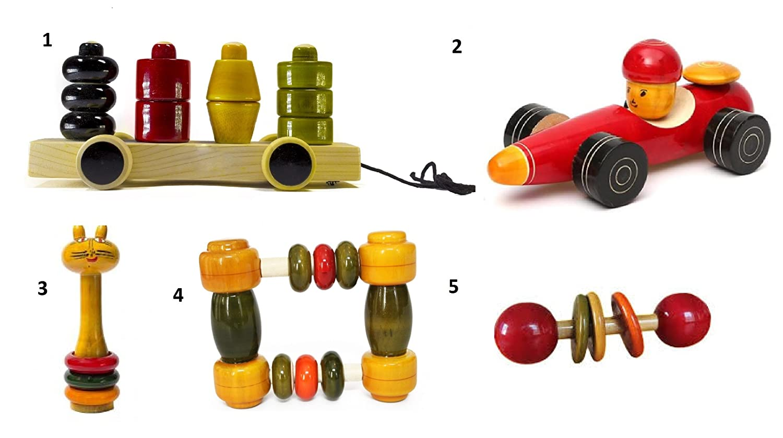 5 Pieceベビー木製Rattles and Cars Toys Set :モデルrw-gl003   B06XFJR3SC