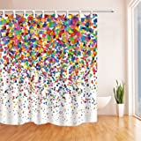 NYMB Watercolor Splashing Festival Decor, Colorful Confetti Shower Curtain, Mildew Resistant Polyester Fabric Bathroom Bath Curtains Set with Hooks,69X70 inches (Multi26)