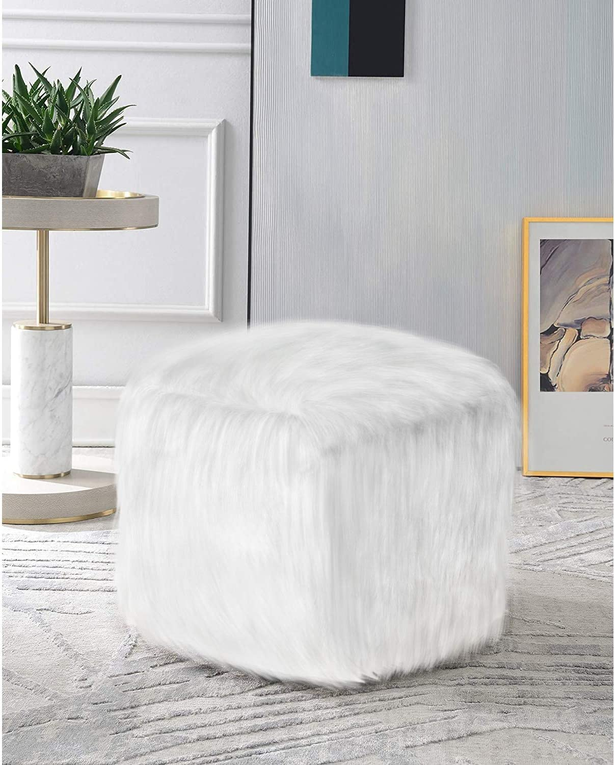 MOTINI Fuzzy Pouf White, Ottoman Pouf Footstool Faux Fur Bean Bag for Living Room, Bedroom, Home, Office, 18
