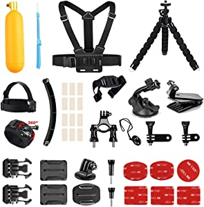 AKASO Outdoor Sports Action Camera Accessories Kit 14 in 1 for AKASO EK7000/ EK7000 Plus/ EK7000 Pro/Brave 4/ V50/ V50 Pro/ V50 Elite/CAMPARK/Go Pro Hero 5 in Swimming Any Other Outdoor Sports