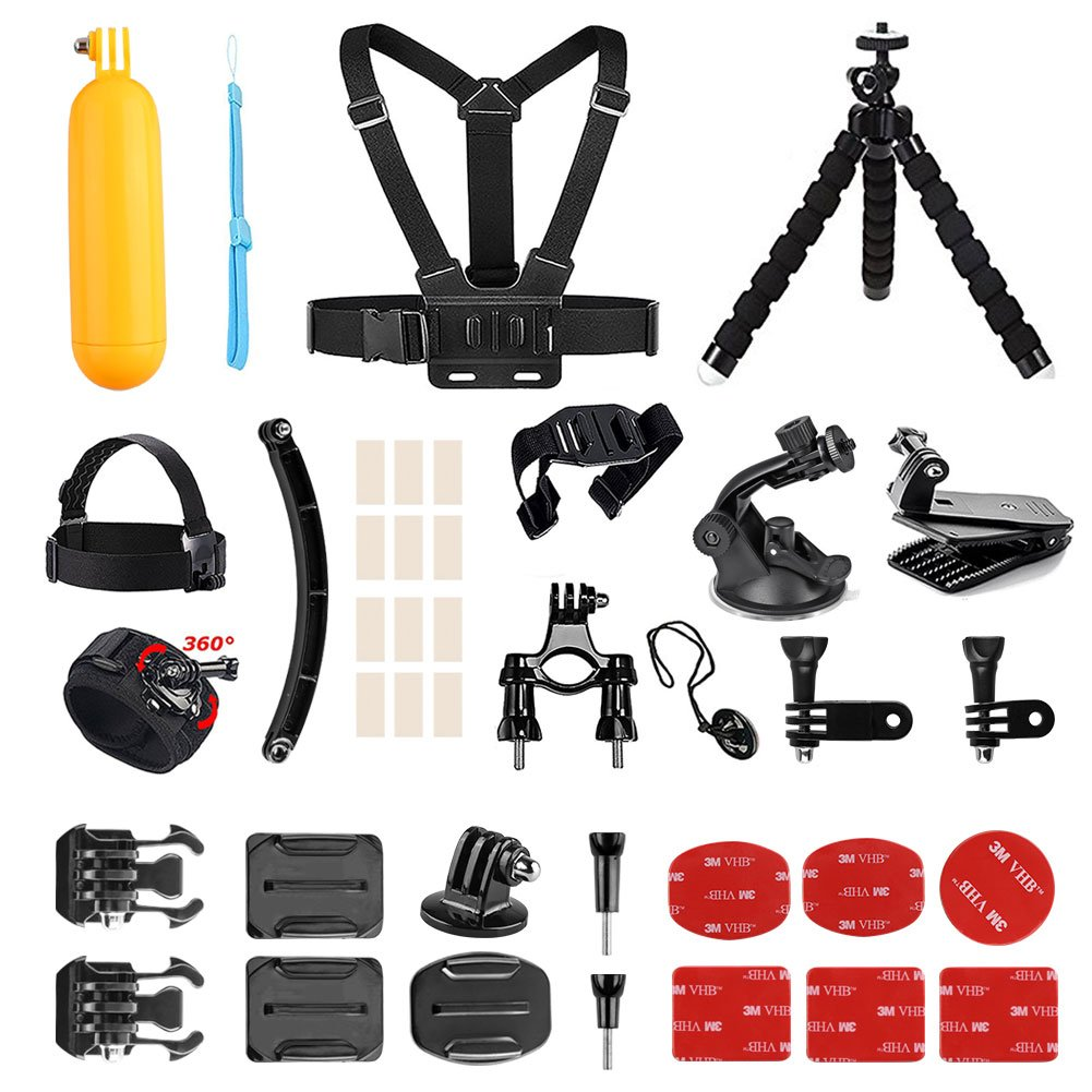 AKASO Outdoor Sports Action Camera Accessories Kit 14 in 1 for AKASO EK7000/ EK7000 Plus/ EK7000 Pro/Brave 4/ V50/ V50 Pro/ V50 Elite/CAMPARK/Go Pro Hero 5 in Swimming Any Other Outdoor Sports by AKASO