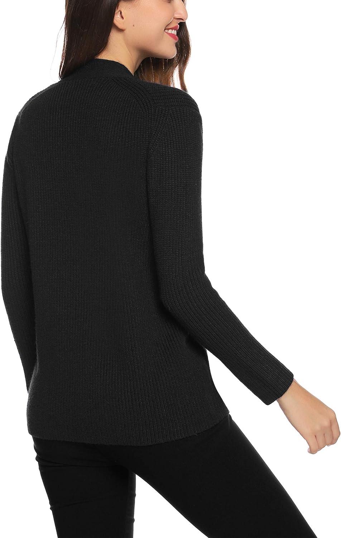 Aibrou Womens Short Cardigan Long Sleeve Cropped Belero Button Shrug S-XXL