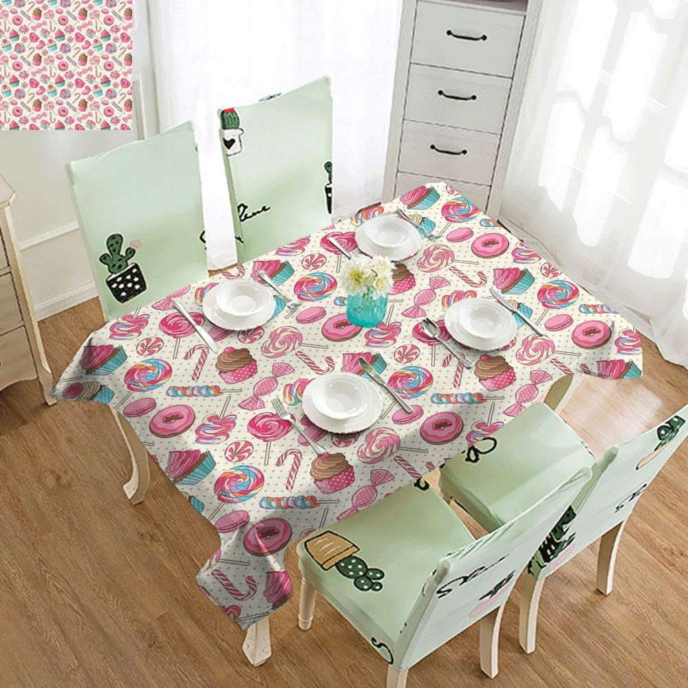 SLLART Multifunctional Table Cover Candy Cane,Yummy Sweet Lollipop Candy Macaroon Cupcake and Donut on Polka Dots Pattern,Multicolor W60 xL102,Rectangle Tablecloth